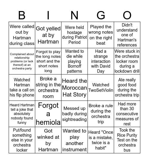 Yorkestra Bingo Card