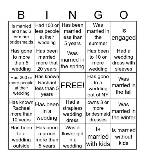 Wedding Bingo!!   Find someone who... Bingo Card