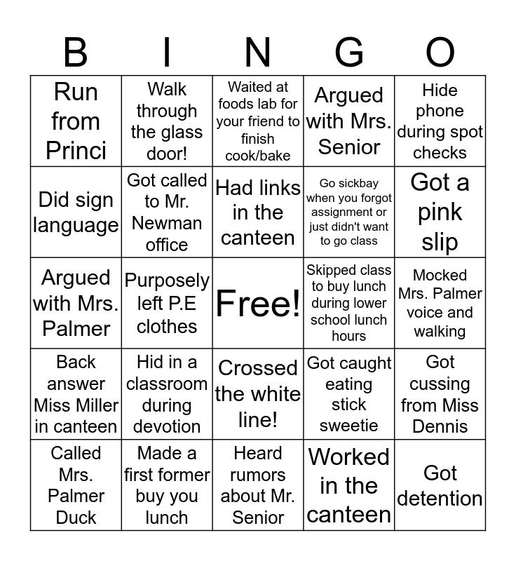 VDHS Bingo Card
