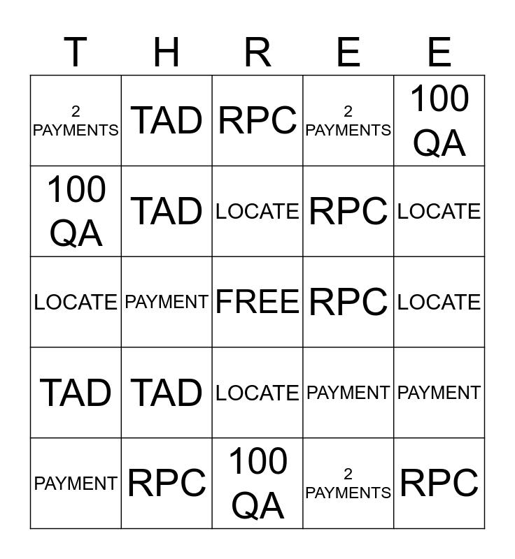 BUCKET Bingo Card