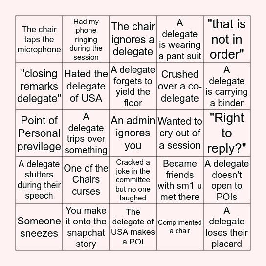 MUN BINGO! Bingo Card