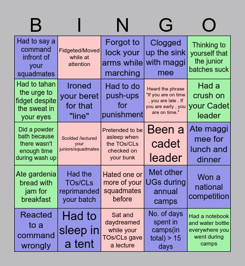 Uniformed groups ⚔️ Bingo Card