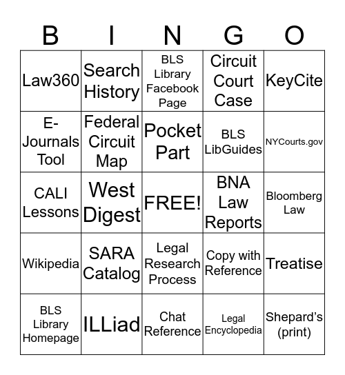 ADVANCED LEGAL RESEARCH - FALL 2014 Bingo Card