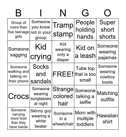 Illinios State Fair Bingo Card