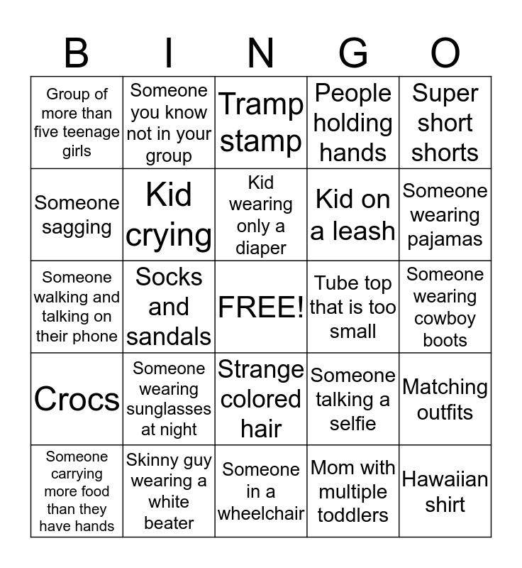 Illinios State Fair Bingo Card