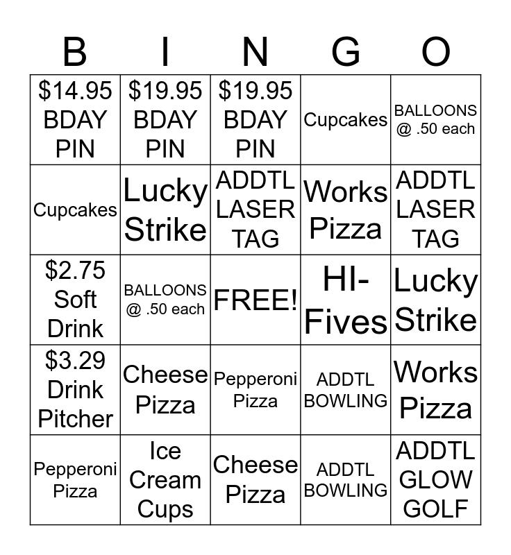 PARTY UPSELL BINGO CONTEST Bingo Card
