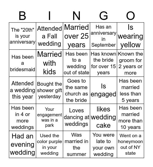 Wedding  BINGO.... find someone who.. Bingo Card