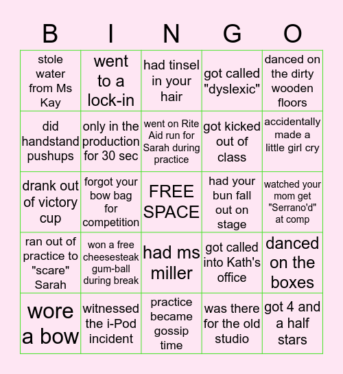 K A Y ' S    A C T    2 Bingo Card