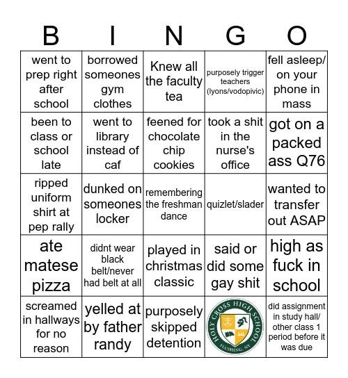 Cross Bingo Card