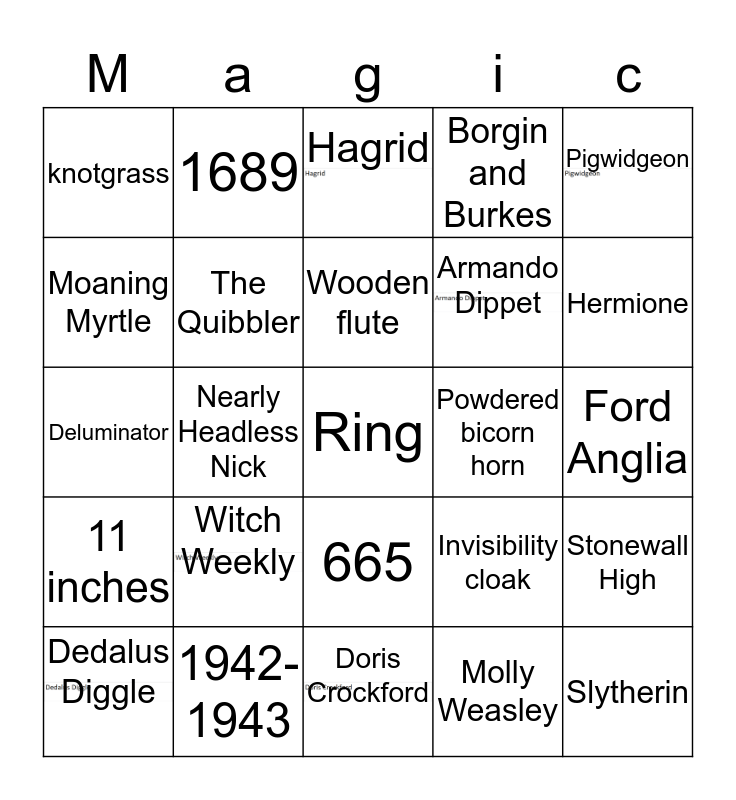 Harry Potter bingo Card