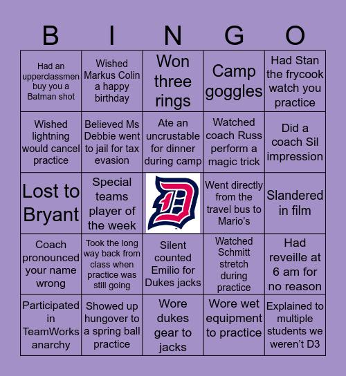 Duquesne Football Bingo Card