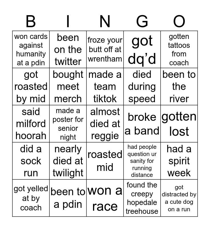 Distance Bingo Card