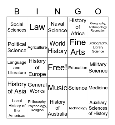 Library of Congress Classificaiton Bingo Card