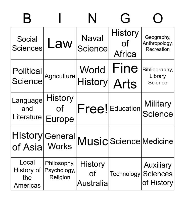 Library of Congress Classificaiton Bingo Card