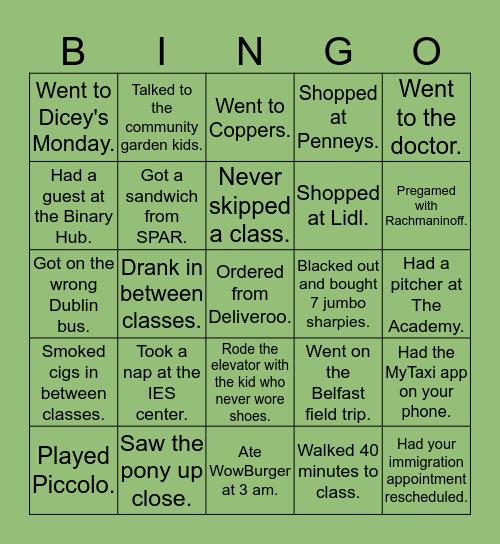 IES Dublin 2019 Bingo Card