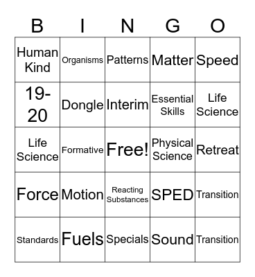 Physical Science Bingo Card