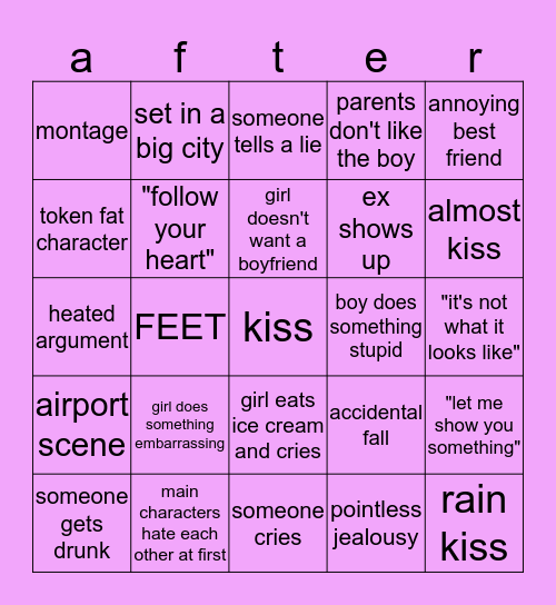 basic movie bingo Card