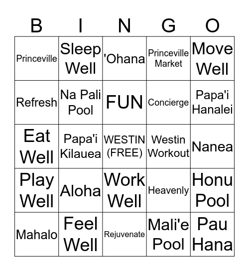 `Ohana Bingo-Westin Princeville Ocean Resort Bingo Card