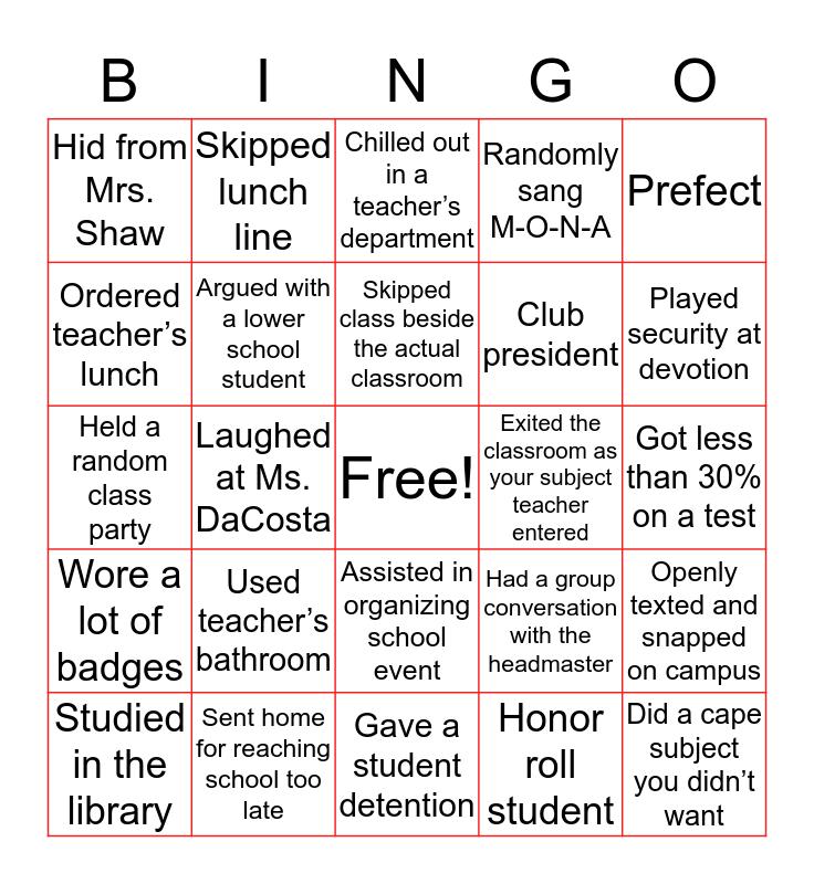 MONA HIGH BINGO (sixth form edition) Bingo Card