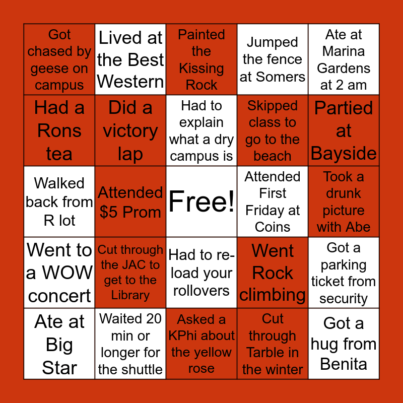 Carthage College Bingo Card