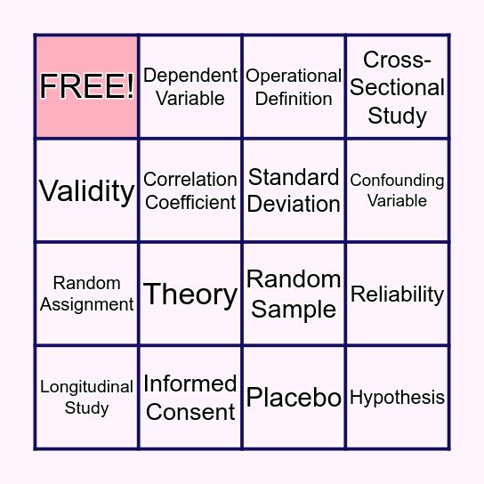 Research Methods Psychology Bingo Card