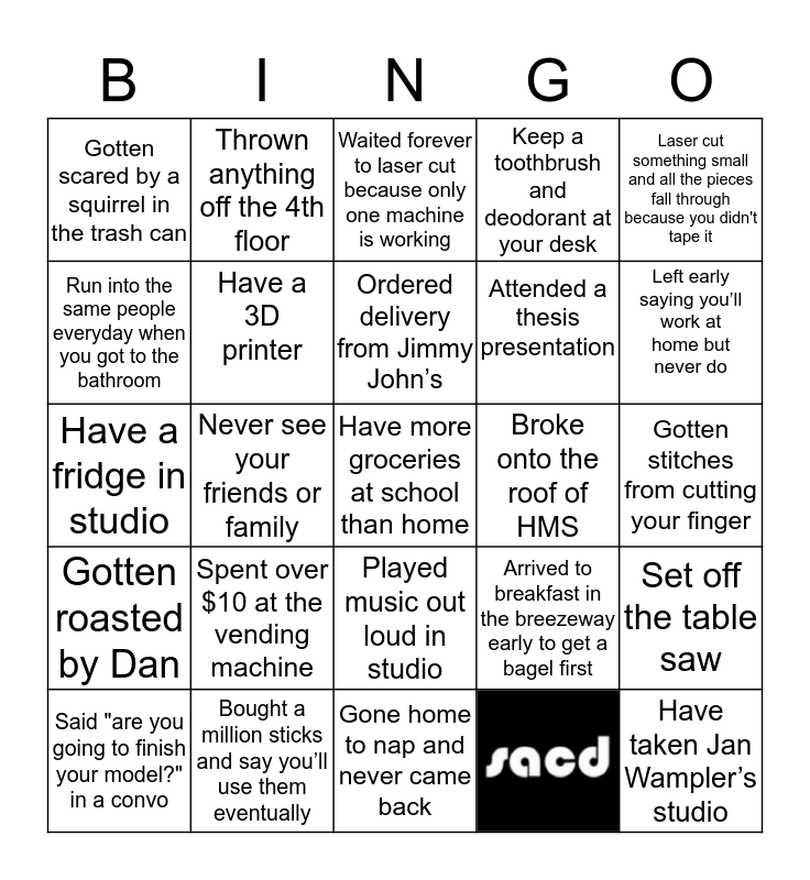 SACD Bingo! Bingo Card