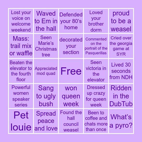 Pasquerilla West Hall Bingo Card