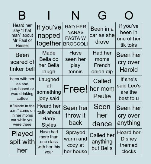 Belly's Bingo Card
