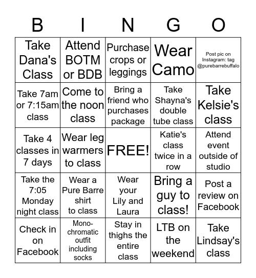 Pure Bingo Card