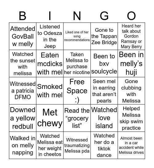 Melly Bingo Card