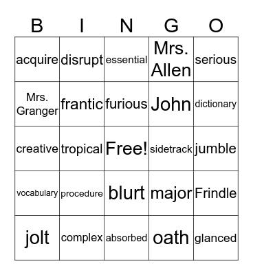 Frindle Bingo Card
