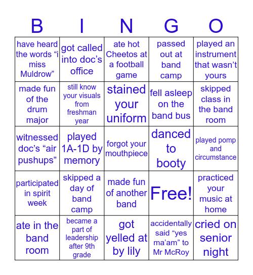 CSHS Band Bingo Card