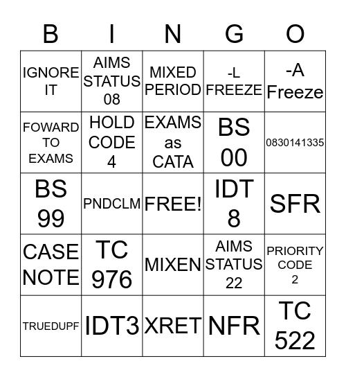 DUPF, DAUD, ID Theft   Bingo Card
