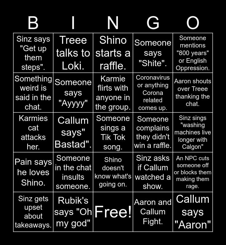 WBG Bingo Card