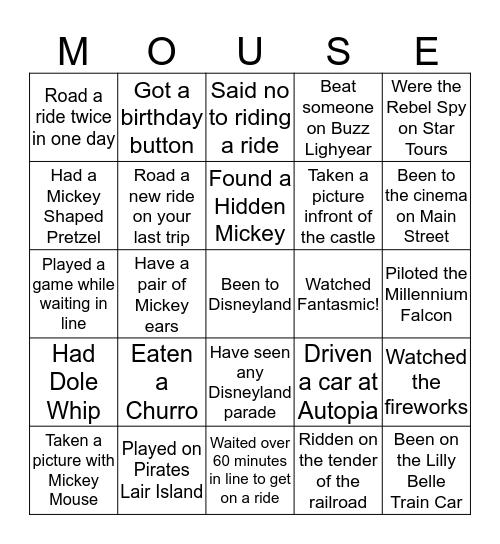 Disneyland Bingo Card