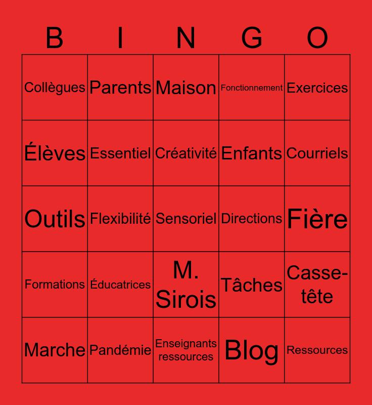 SSA-EED - 3 avril 2020 Bingo Card