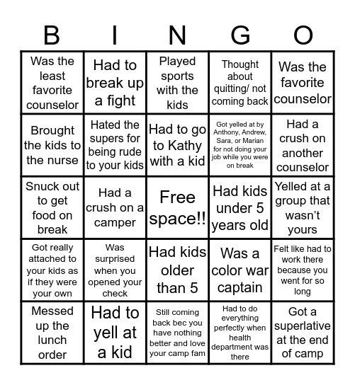 Camp counselor addition Bingo Card