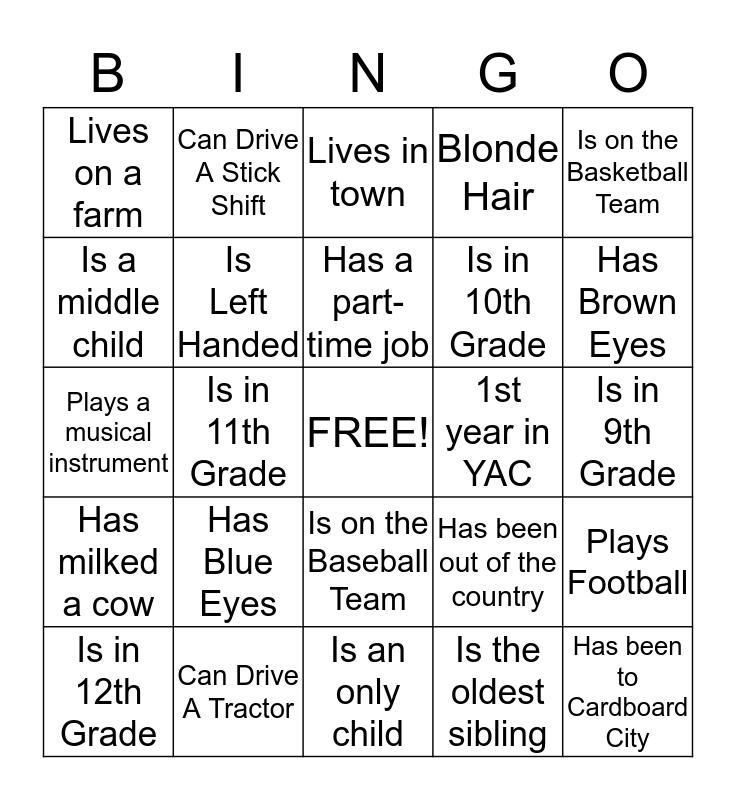 YAC Summer Retreat Bingo Card