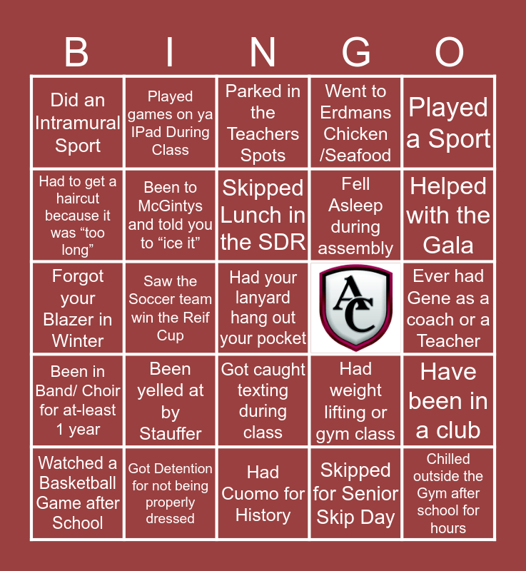 Archbishop Curley Bingo Card