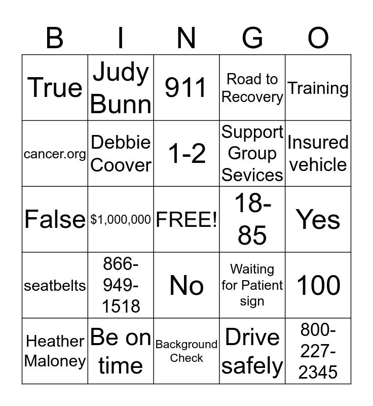 Road Bingo Card
