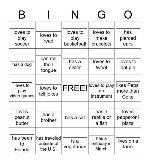 Getting To Know You Bingo Card