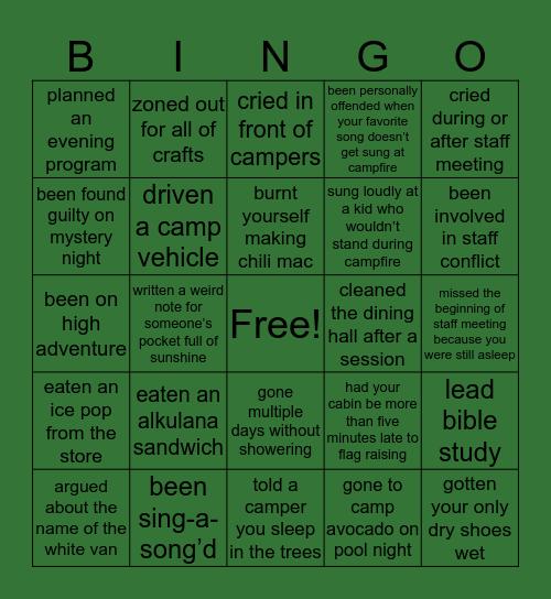 Alkulana Counselor Bingo Card