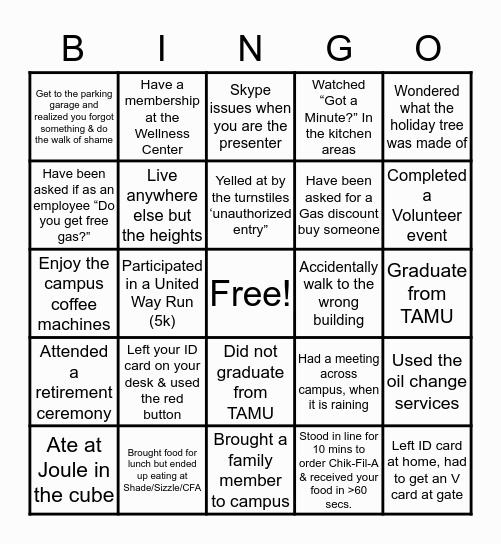 ExxonMobil Bingo Card