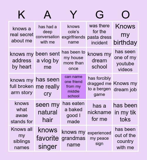 How Close Are You To Kaya Bingo Card