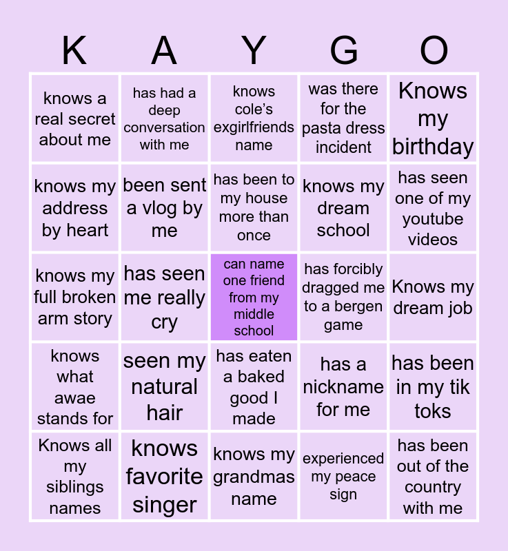 How Close Are You To Kaya Bingo Card