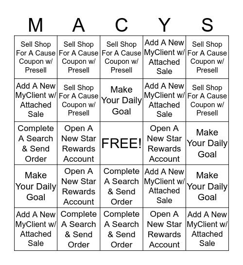 Macy's Associate Bingo Card
