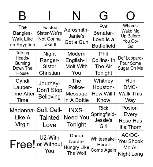 Total-Quiz.com Presents Radio Bingo: 1980's Bingo Card