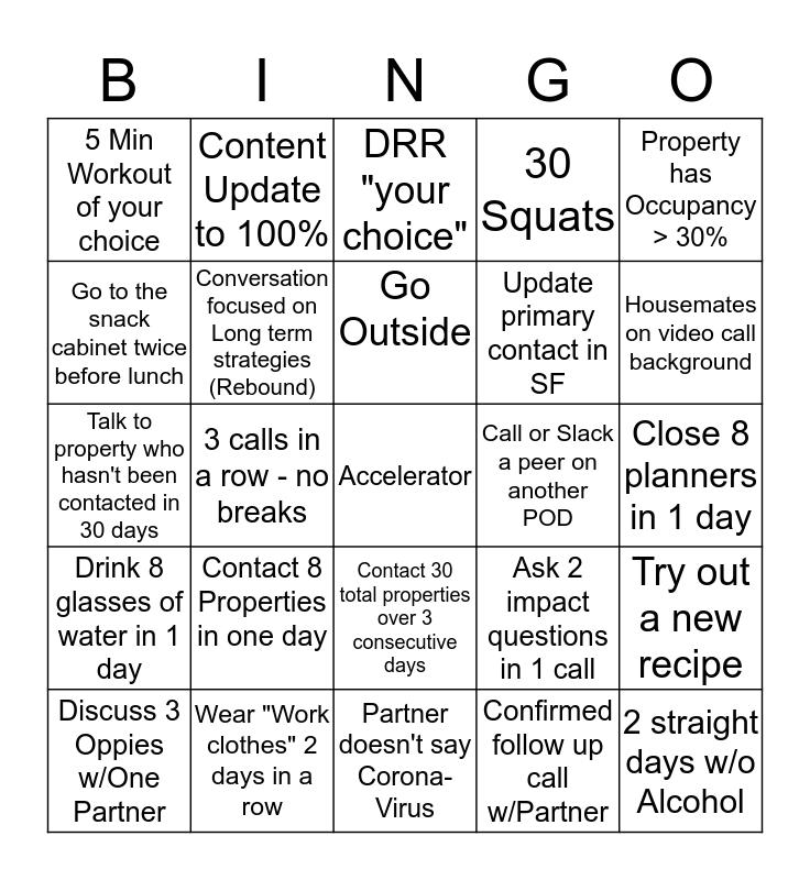 WFH Weekly Bingo Card