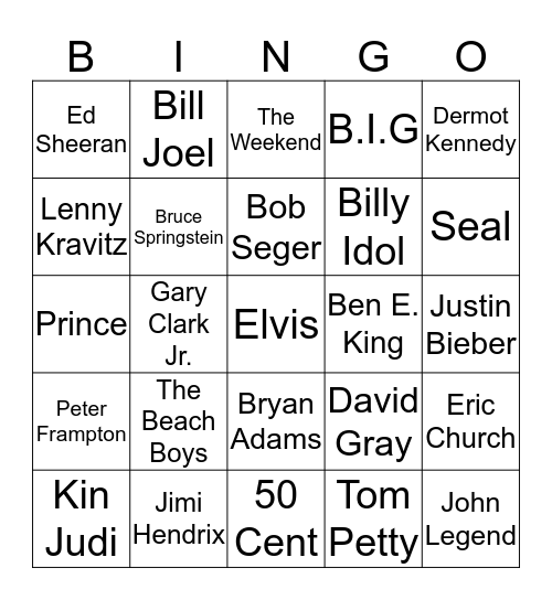 The Boys Are Back In Town Bingo Card