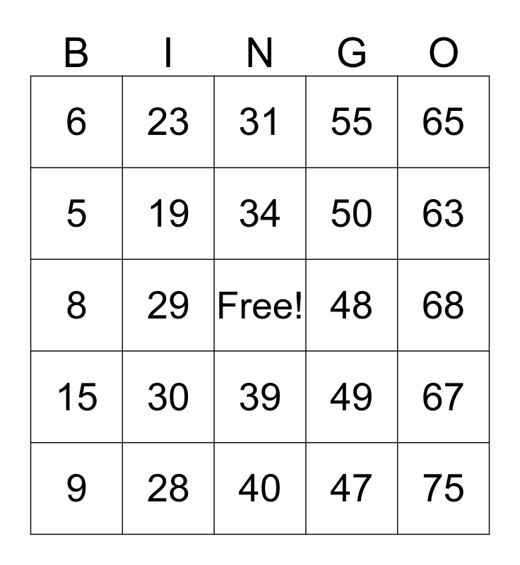 The Colony Seniors Bingo 1-75 Bingo Card